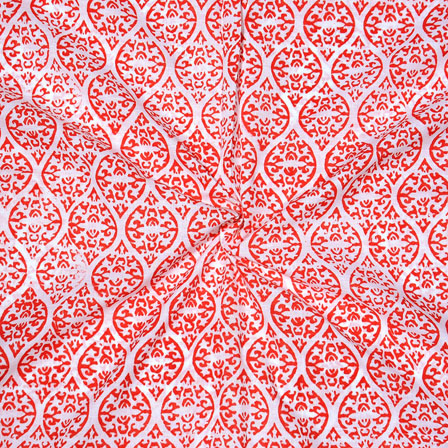 White Orange Block Print Cotton Fabric-14742