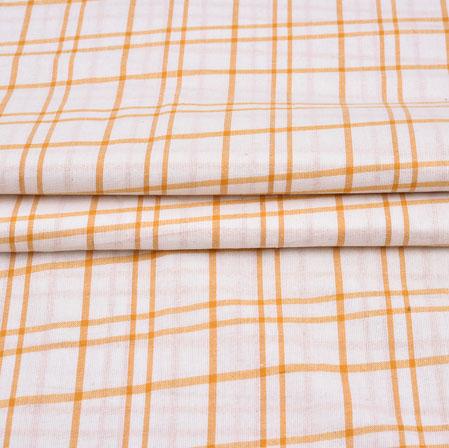 White Orange Checks Cotton Handloom Fabric-42216