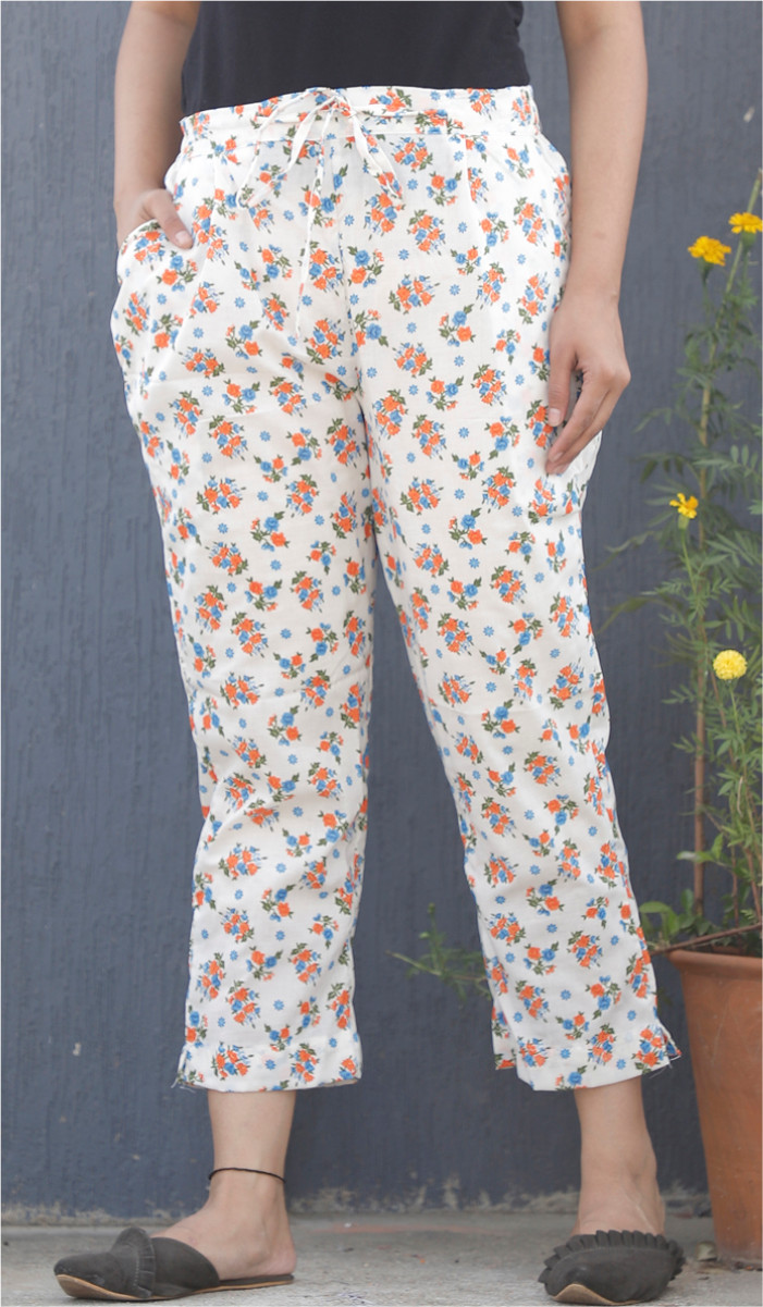 White Orange Floral Block Print Cotton Pant-34115