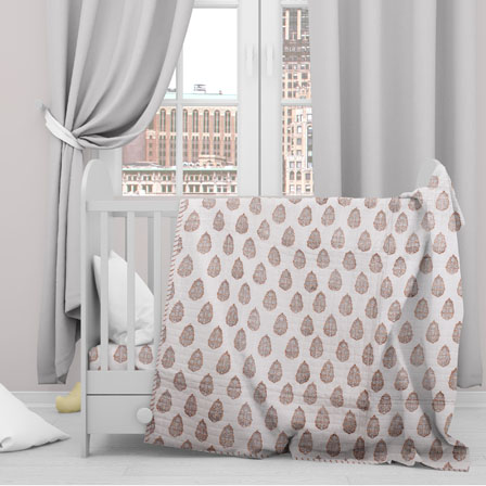 White Orange Floral Cotton Block Print Baby Quilt-33137