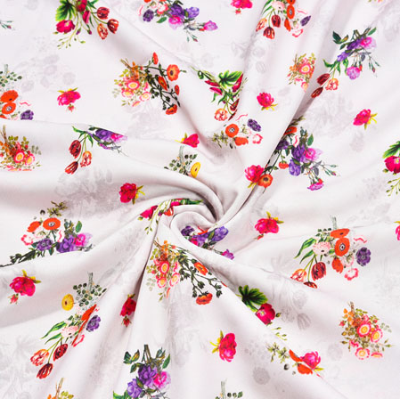 White Orange Floral Crepe Silk Fabric-41062
