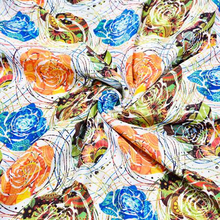 White Orange Floral Georgette Fabric-41061