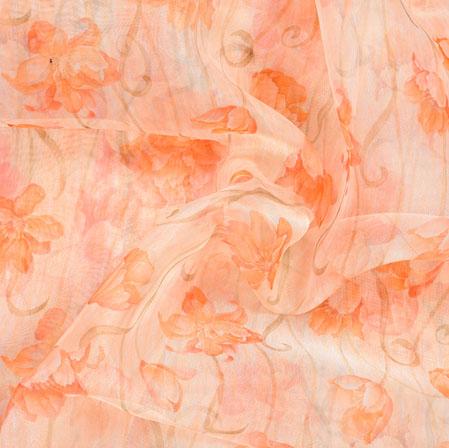 White Orange Floral Organza Digital Silk Fabric-22399