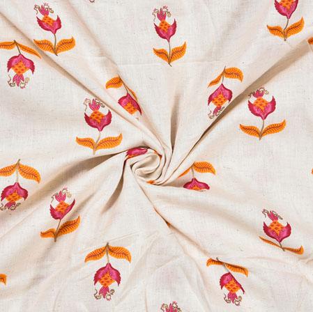 White Orange Flower Cotton Print Fabric-28213