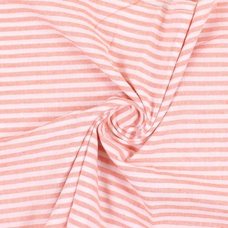 White Orange Handloom Khadi Cotton Fabric-40425