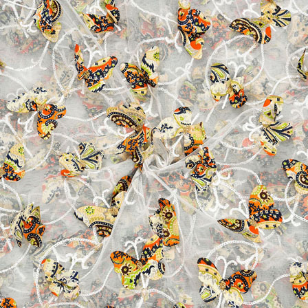 White Orange Net Butterfly Embroidery Fabric-18784