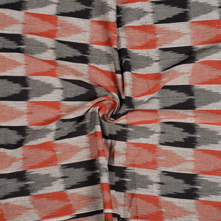 White-Orange and Black 3D Ikat Cotton Fabric-12105
