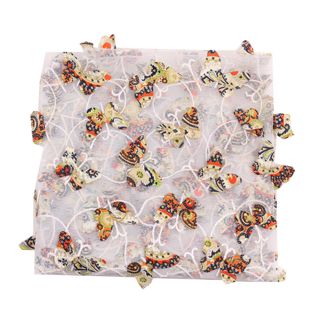 White-Orange and Black Butterfly Net Embroidery Fabric-60853