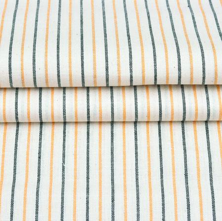 White Orange and Black Stripe Handloom Cotton Fabric-42596