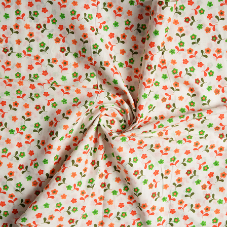 White-Orange and Green Flower Design Block Print Cotton Fabric-14440