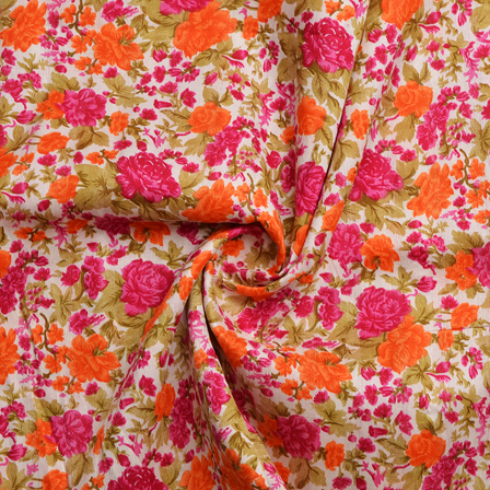 White-Orange and Pink Floral Design Banglori Silk Fabric-4896