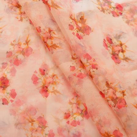 Buy White Orange And Pink Floral Design Organza Silk