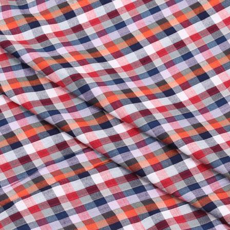 Khadi Shirt (2.25 Meter) Fabric-White Orange and Red Check Handloom-140444