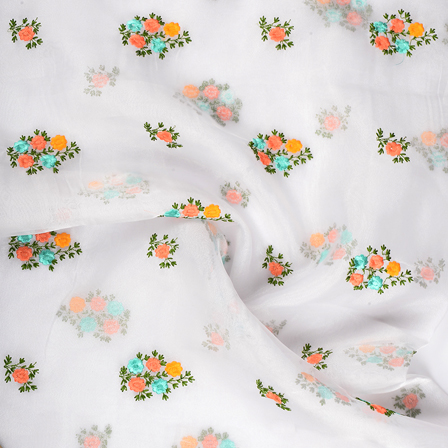 White Organza Fabric With Green and Peach Flower Embroidery-51272