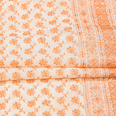 White Peach Flower Lucknowi Chikan Fabric-95042