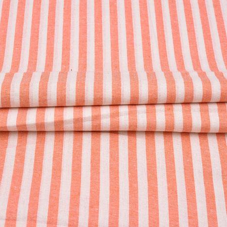 White Peach Stripe Cotton Handloom Fabric-42214