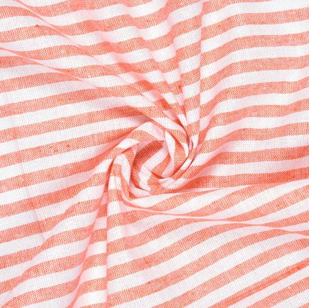 White Peach Striped Handloom Cotton Fabric-40837