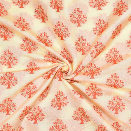 White Peach Tree Brocade Banarasi Silk Fabric-12841