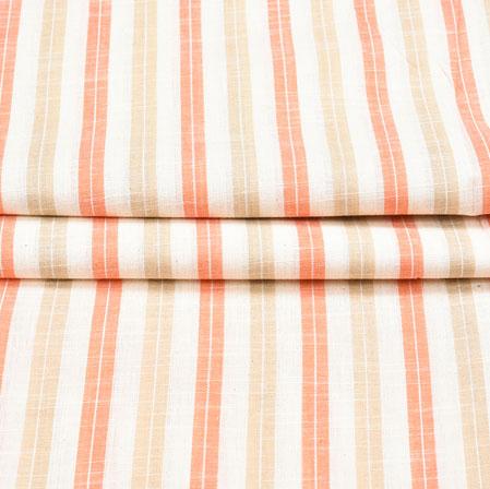 White Peach and Beige Stripe Cotton Fabric-42393