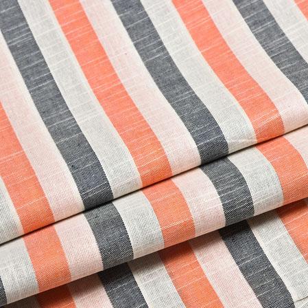 White Peach and Black Striped Handloom Cotton Fabric-40814