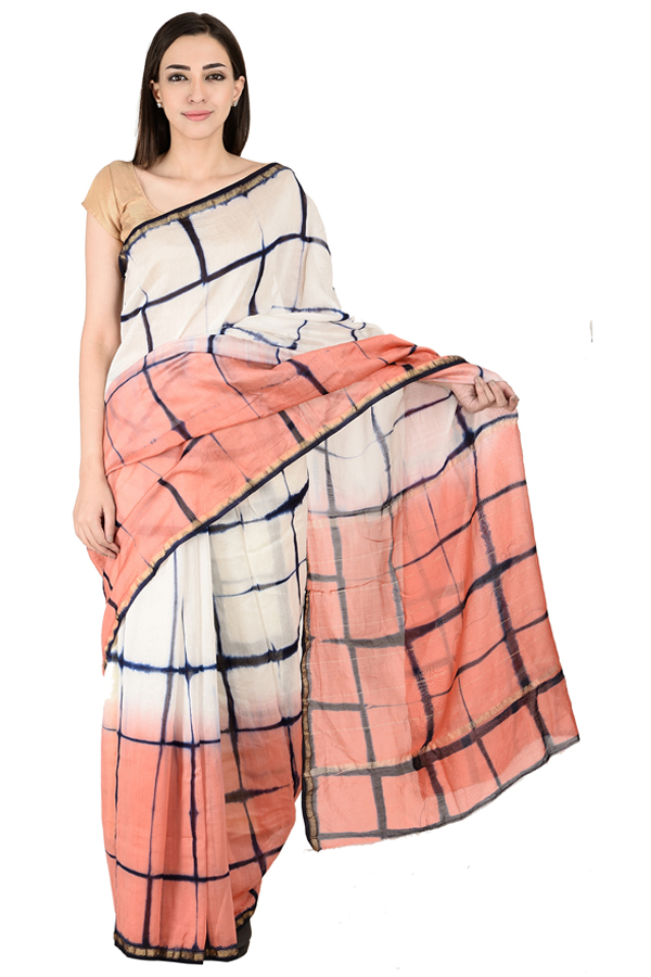 White-Peach and Blue Block Print Chanderi Saree-20144