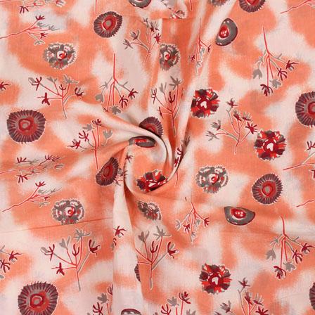 White Peach and Gray Block Print Cotton Fabric-14828