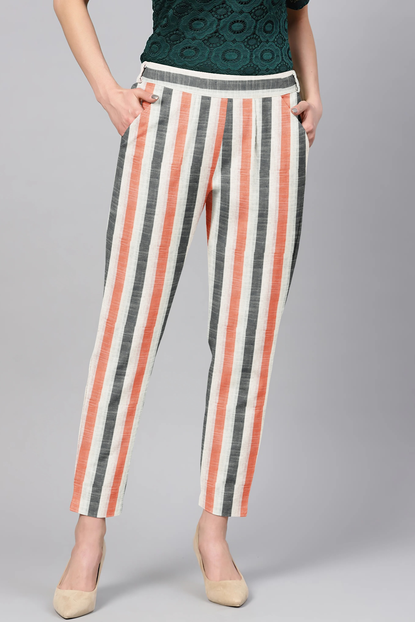White Peach and Gray Cotton Stripe Regular Fit Solid Trouser-36113