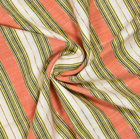 White Peach and Yellow Striped Handloom Cotton Fabric-40815