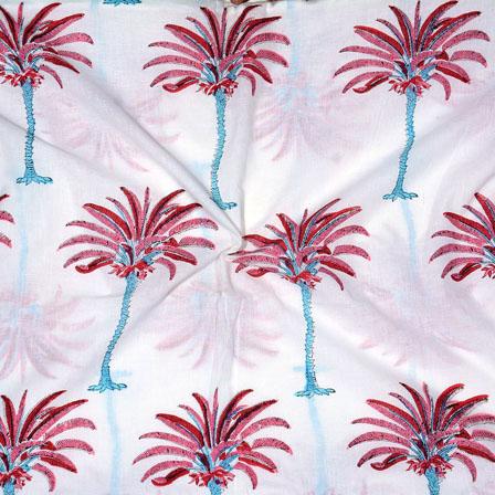 White Pink Block Print Cotton Fabric-14694