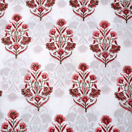 White Pink Block Print Cotton Fabric-14713