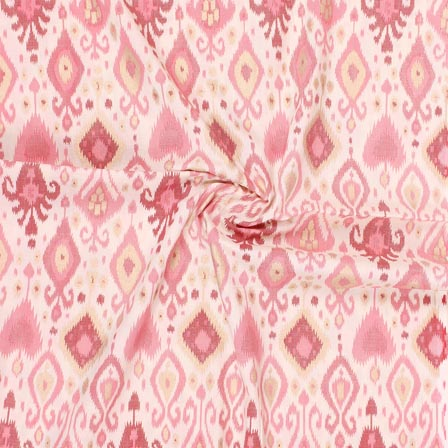 White Pink Block Print Rayon Fabric-14896