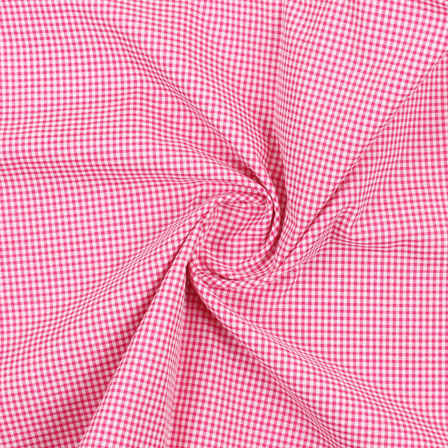 White Pink Check Handloom Khadi Cotton Fabric-40460