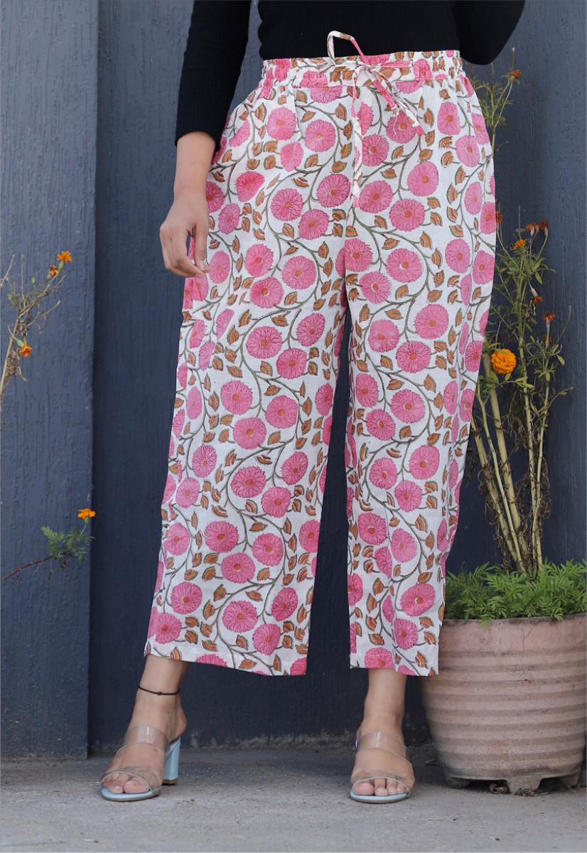 White Pink Cotton Floral Palazzo Pant-34334