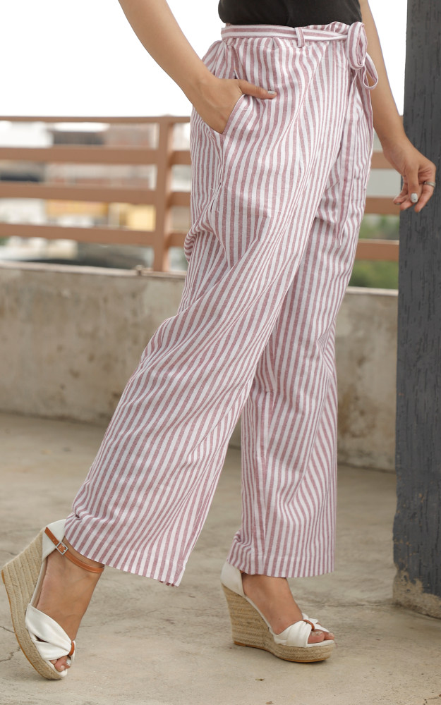 White Pink Cotton Stripe Pant with Belt-33636