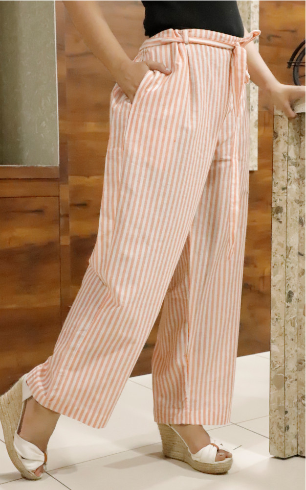 White Pink Cotton Stripe Pant with Belt-33641