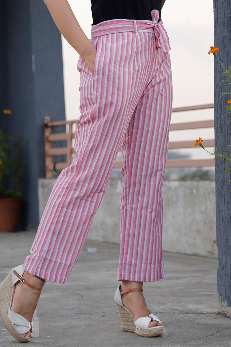White Pink Cotton Stripe Pant with Belt-34060