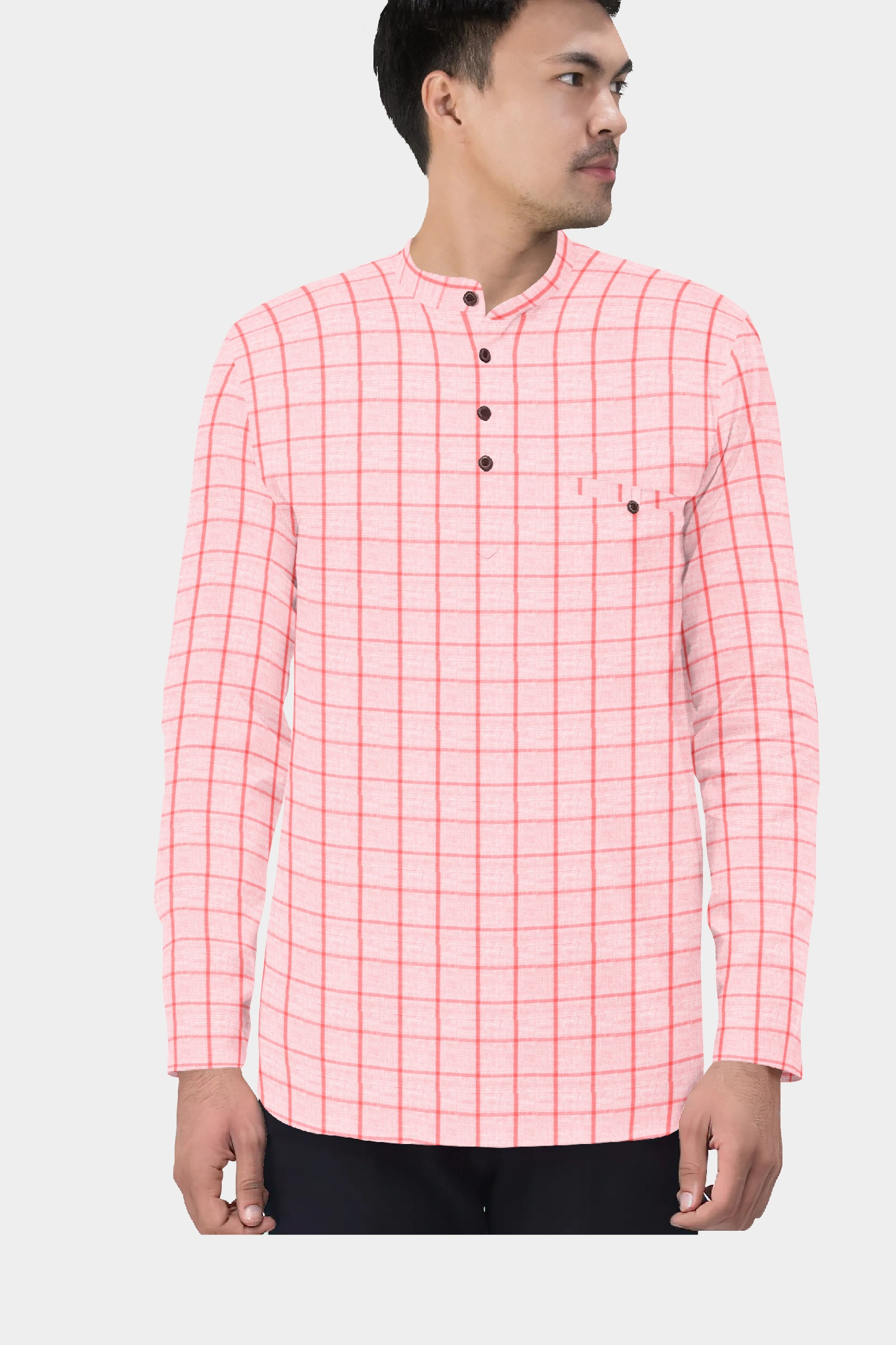 White Pink Cotton Check Short Kurta-35426