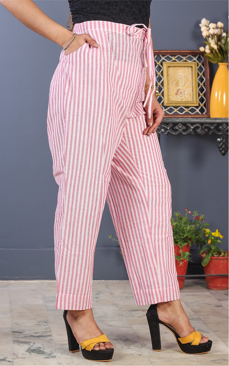 White Pink Cotton Stripe Pant-35198