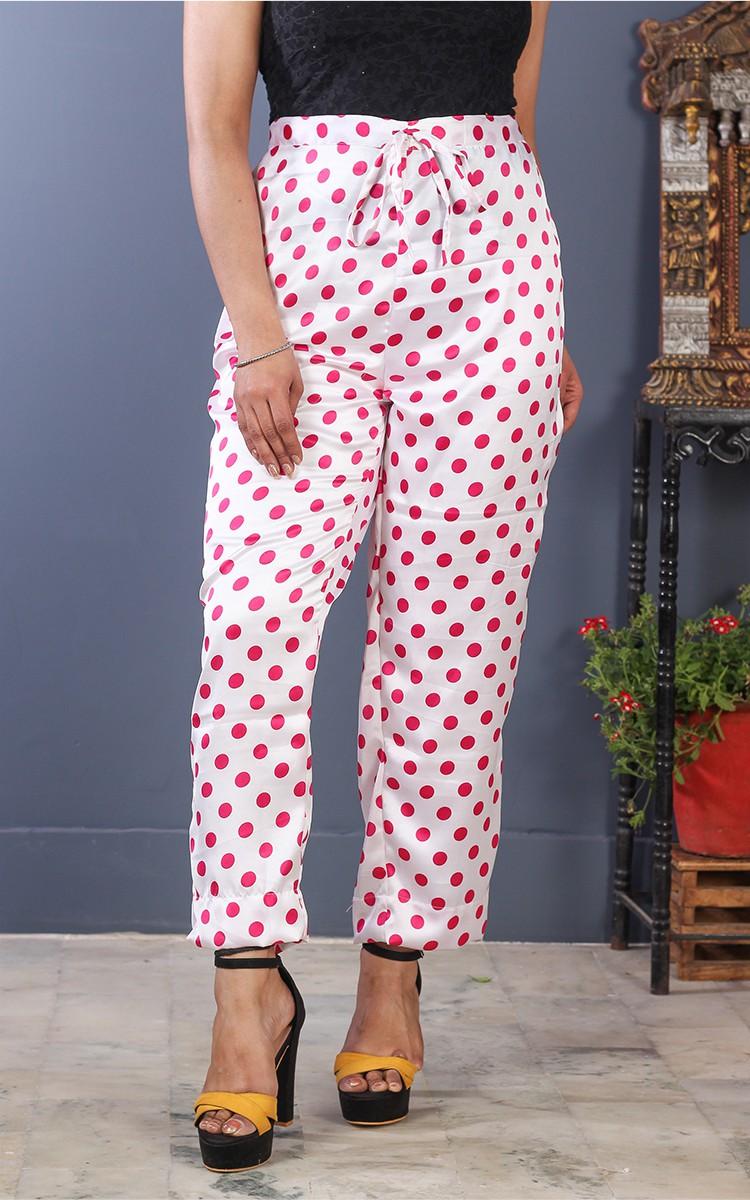 White Pink Crepe Polka Women Pant-34709