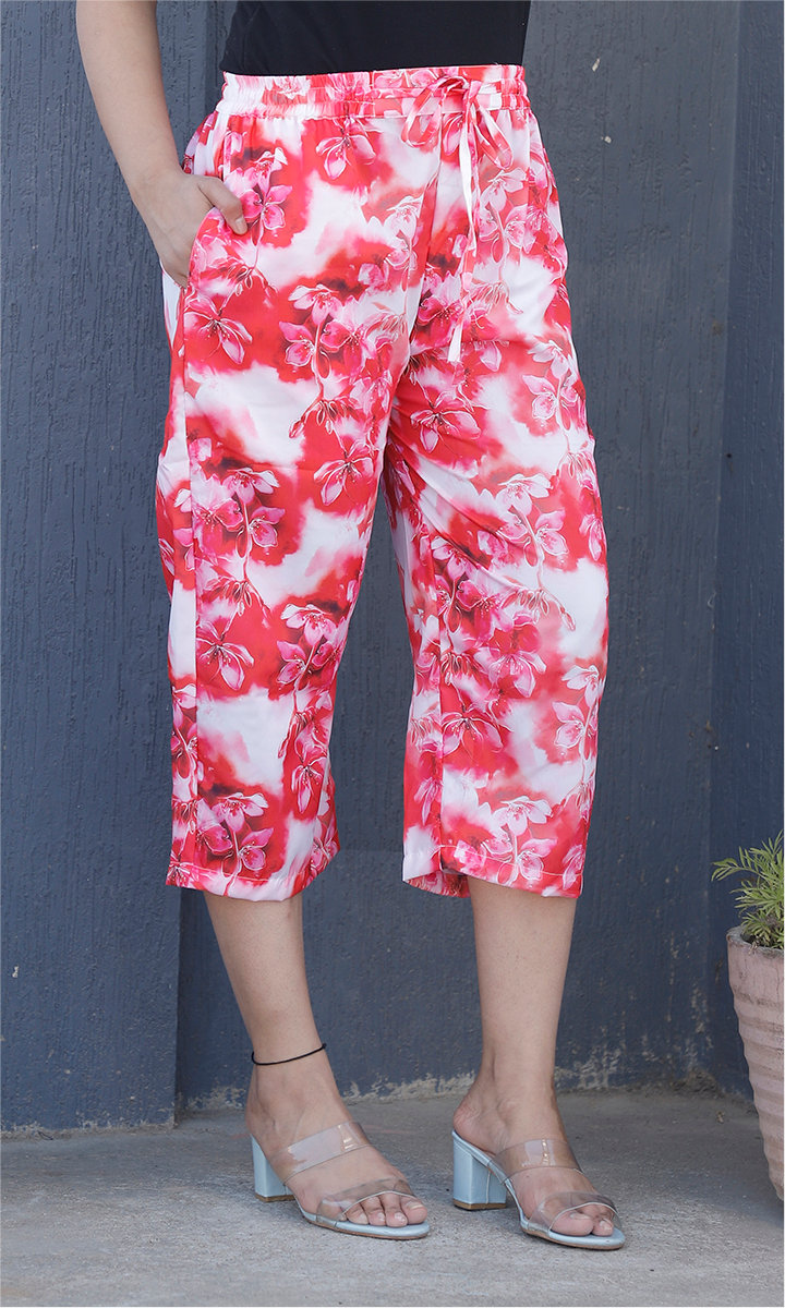 White Pink Crepe Silk Women culottes-34443