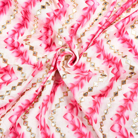 White Pink Digital Position Print Chinon Embroidery Fabric-19302