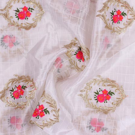 White Pink Embroidery Organza Silk Fabric-51623