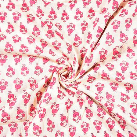 White Pink Floral Block Print Cotton Fabric-28504