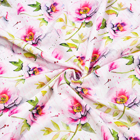 White Pink Floral Crepe Silk Fabric-41004