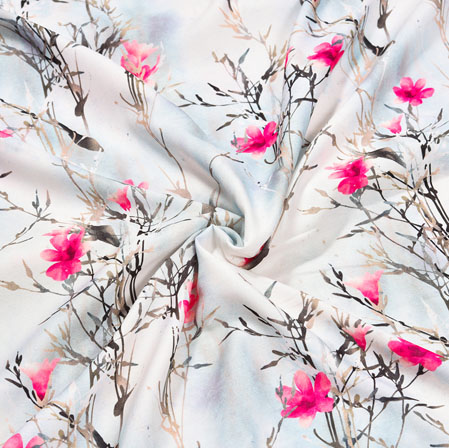 White Pink Floral Crepe Silk Fabric-41076