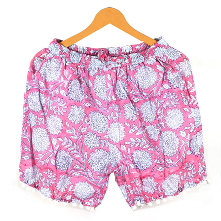White Pink Flower Cotton Block Print Short-14656