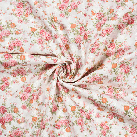 White Pink Flower Cotton Foil Embroidery Fabric-28295