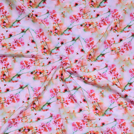 White Pink Flower Crepe Silk Fabric-18241