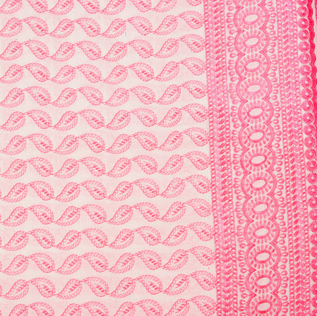 White Pink Flower Lucknowi Chikan Fabric-95029
