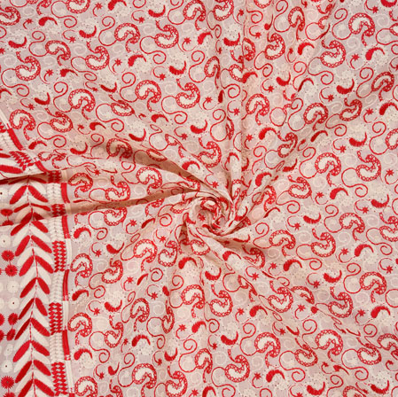 White Pink Flower Lucknowi Chikan Fabric-95032